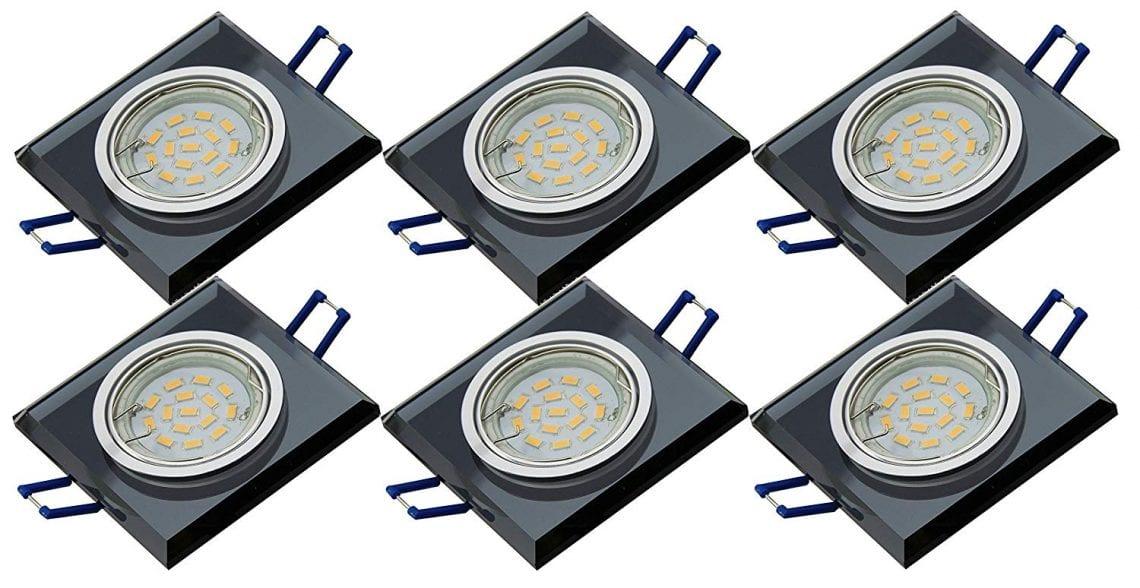 sans ampoule Carr/é IP44/aux projections deau Spot encastrable de salle lampe luminaire plafond LED et ampoules halog/ènes avec douille GU10