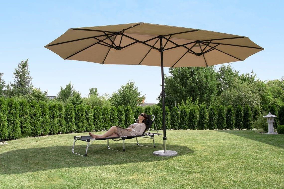 Sekey/® Parasol en Bois inclinable pour Patio Jardin Balcon Piscine Plage /Ø 270 cm Rond Beige//Taupe Sunscreen UV50+